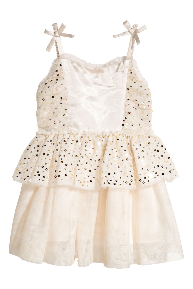 Sequined tulle dress - Natural white - Kids | H&M CN