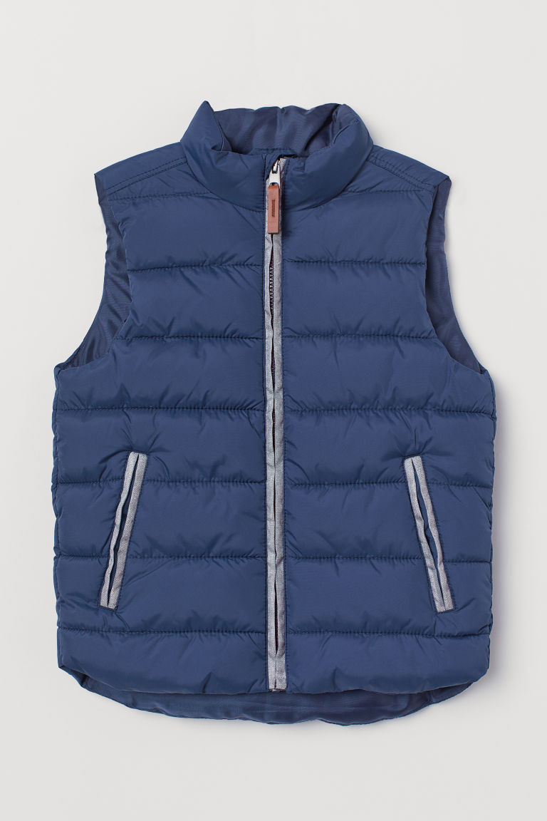 Padded gilet - Dark blue -  | H&M CN