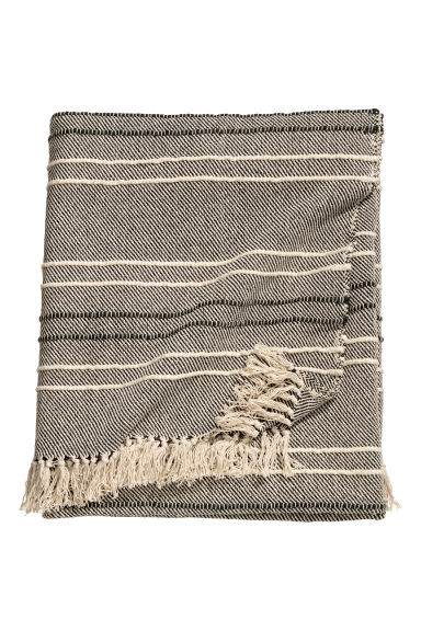 Textured striped bedspread - Natural white/Black -  | H&M GB