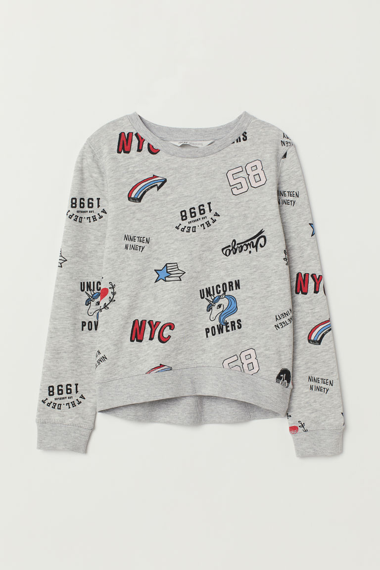 Printed sweatshirt - Grey marl/Unicorn Powers - Kids | H&M CN