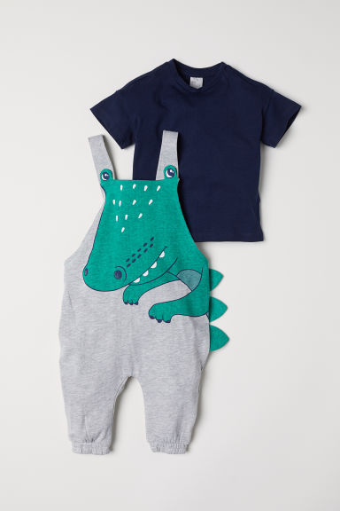 Dungarees and T-shirt - Light grey/Crocodile - Kids | H&M CN