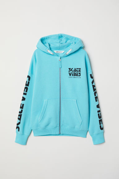 Printed hooded jacket - Turquoise - Kids | H&M