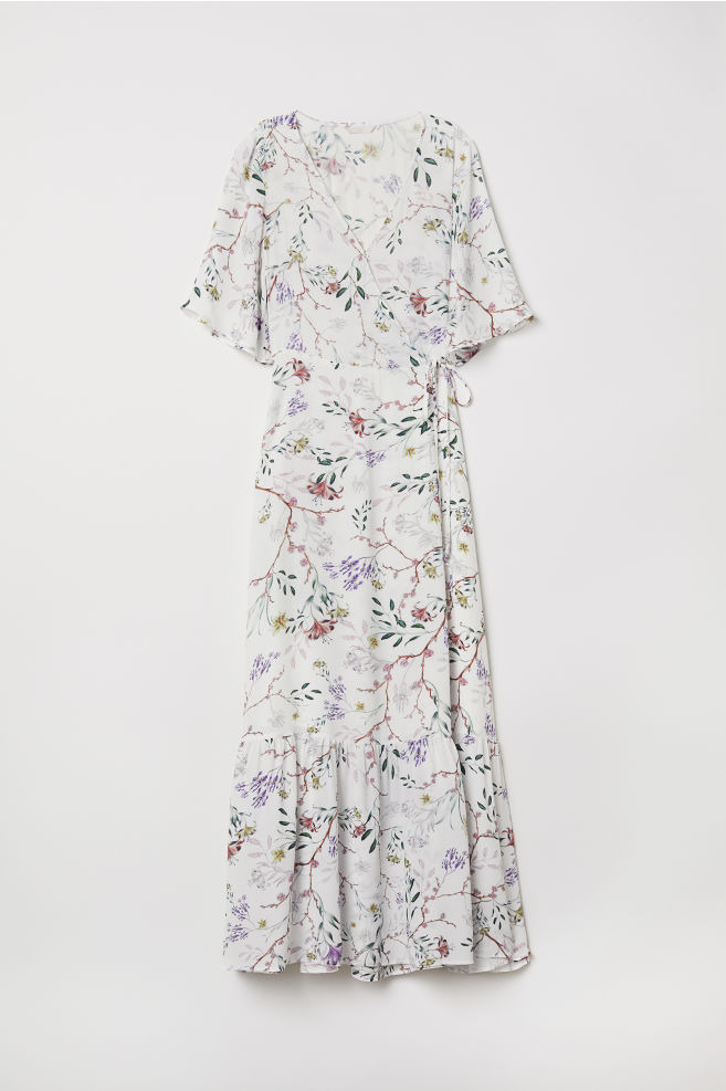 Patterned wrap dress - White Floral - Ladies  6dab00089