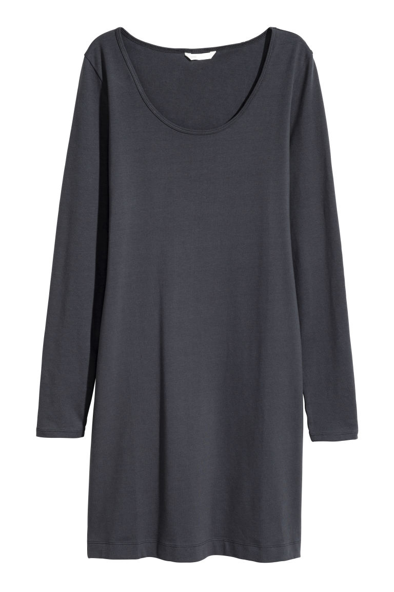 Short jersey dress - Dark grey - Ladies | H&M CN