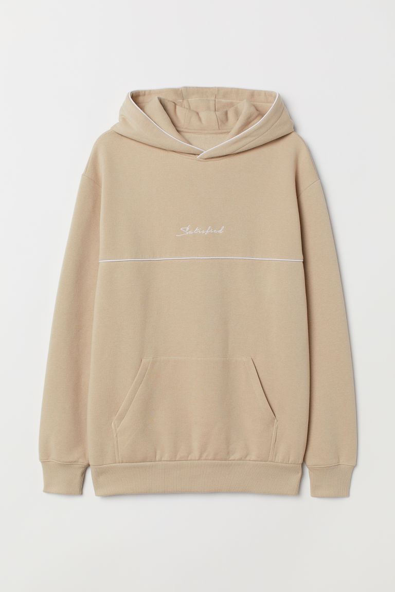 Hooded top with embroidery - Beige - Men | H&M CN