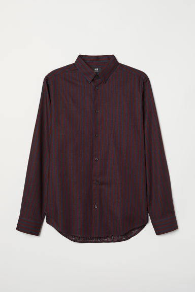 Camicia in cotone Regular fit - Bordeaux/blu scuro righe - UOMO | H&M IT