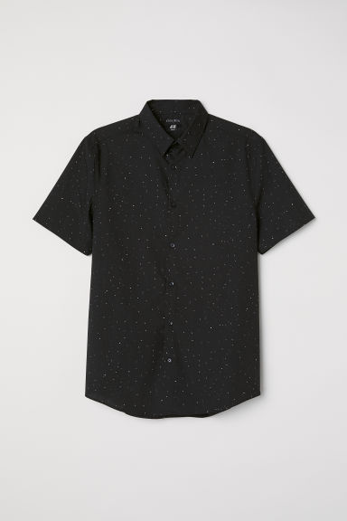 Camisa Slim fit Easy iron - Negro/Estampado -  | H&M ES