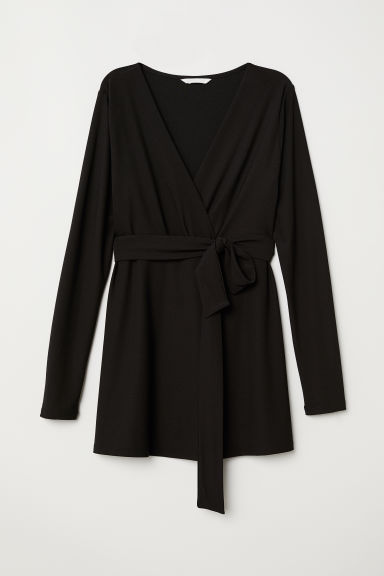 MAMA Top with tie belt - Black -  | H&M CN