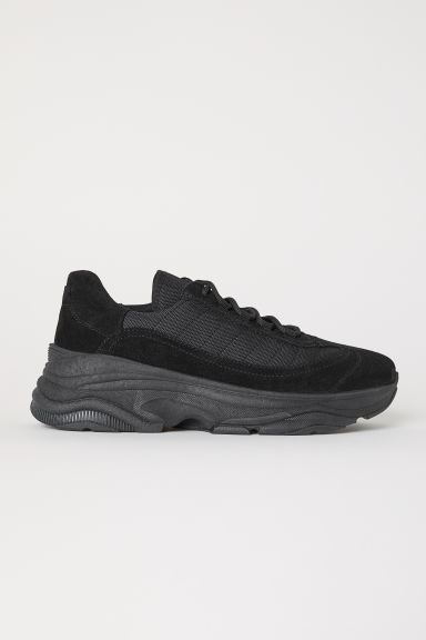 Suede trainers - Black - Men | H&M