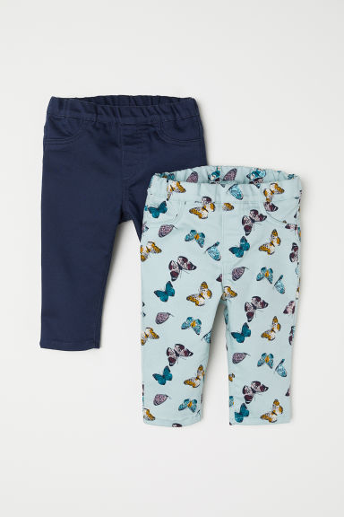 2-pack leggings - Turquoise/Butterflies - Kids | H&M