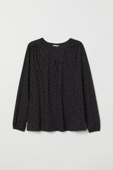 H&M+ Jersey blouse - Black/Spotted - Ladies | H&M