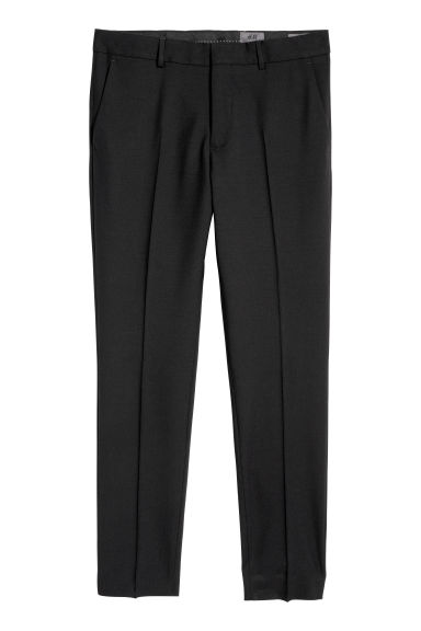Wool suit trousers Skinny fit - Black - Men | H&M