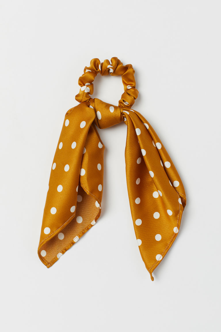 Scrunchie with a scarf detail - Yellow/White spotted - Ladies | H&M GB