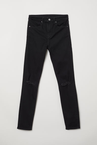 Skinny Regular Ripped Jeans - Black - Ladies | H&M
