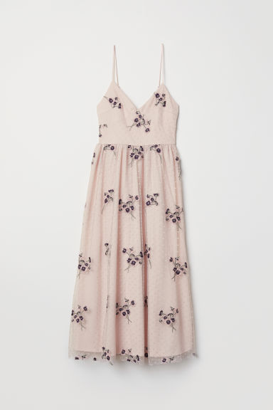 Embroidered mesh dress - Light pink - Ladies | H&M