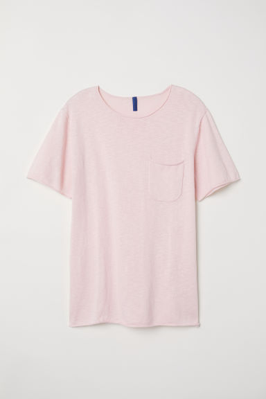Fine-knit cotton T-shirt - Light pink - Men | H&M