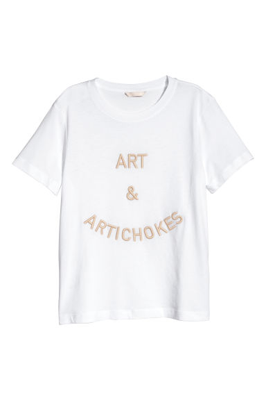 T-shirt with embroidery - White/Art&Artichokes -  | H&M
