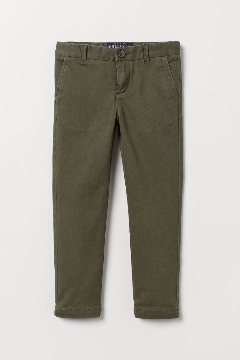 Cotton Twill Chinos - Dark khaki green - Kids | H&M CA
