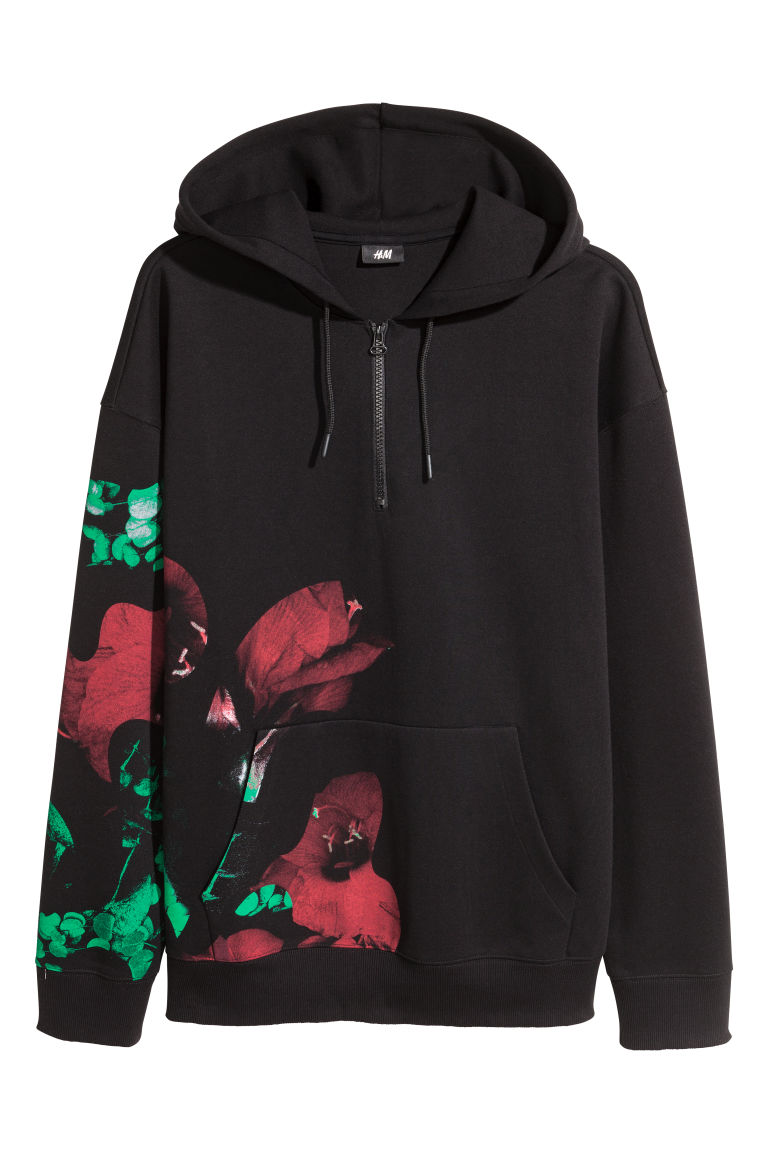 Hooded top with a zip - Black/Floral - Men | H&M CN