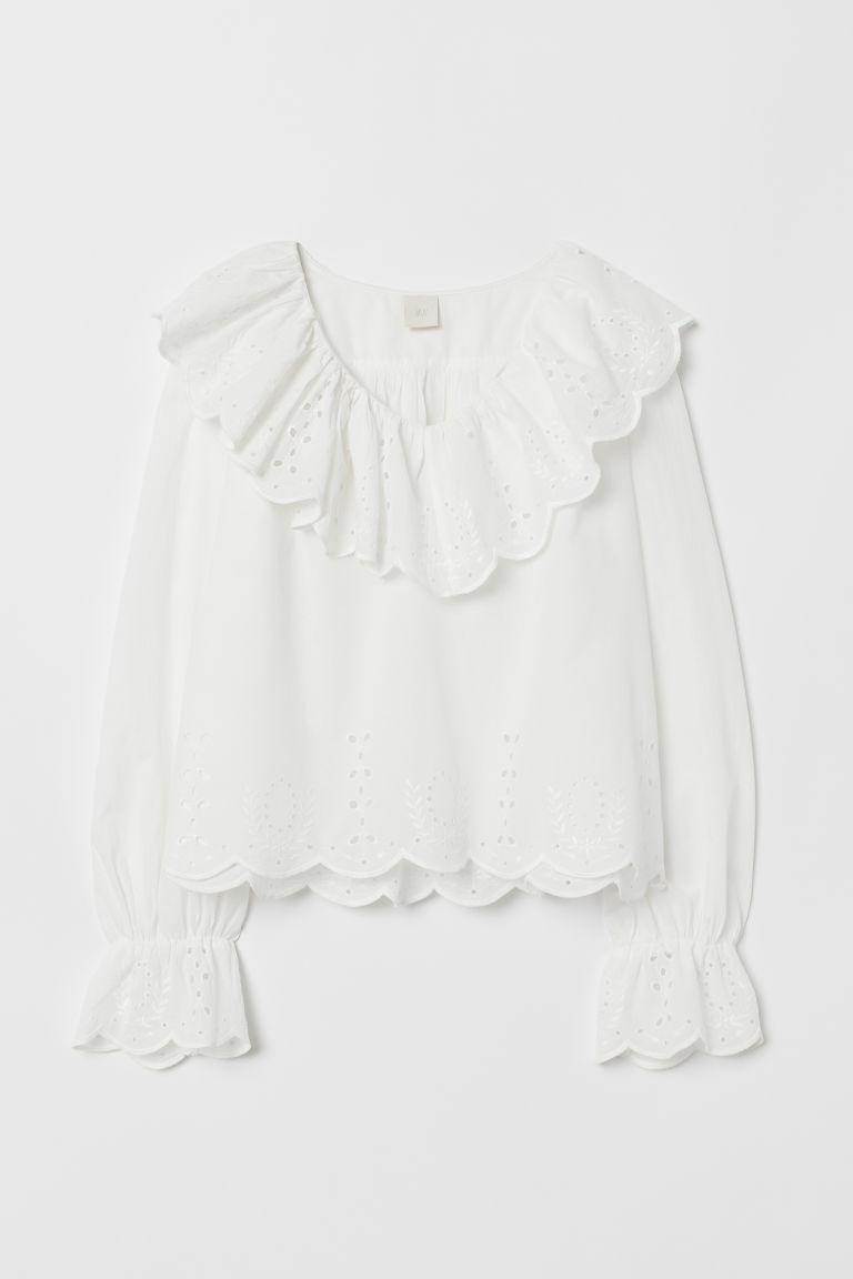 Blouse with Eyelet Embroidery - White - Ladies | H&M US