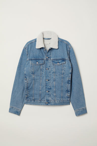 Pile-lined denim jacket - Light denim blue - Men | H&M CN