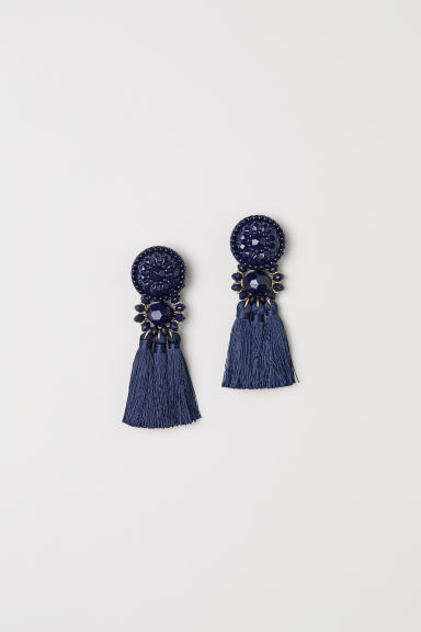Earrings with tassels - Dark blue - Ladies | H&M GB