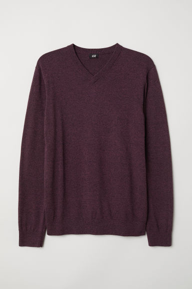 V-neck cotton jumper - Dark purple marl - Men | H&M