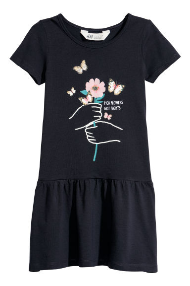 Short-sleeved jersey dress - Dark blue/Flower - Kids | H&M