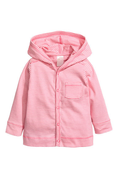 Jersey hooded cardigan - Cerise/White striped - Kids | H&M CN