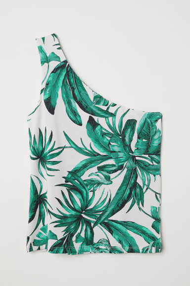 One-shouldertop - Wit/bladdessin - DAMES | H&M BE