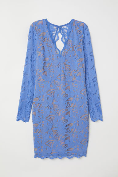 Fitted lace dress - Blue - Ladies | H&M