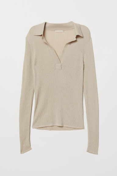 V-neck top with a collar - Beige - Ladies | H&M CN