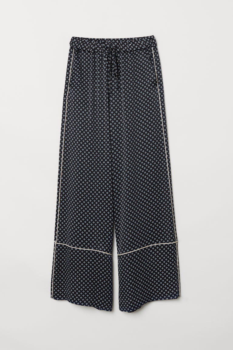 Wide viscose trousers - Dark blue/Patterned - Ladies | H&M