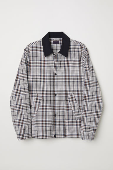 Checked shirt jacket - Natural white/Checked -  | H&M