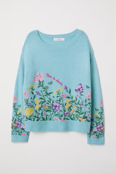 Knitted jumper with embroidery - Turquoise -  | H&M CN
