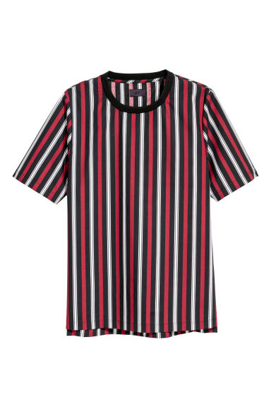 Woven T-shirt - Black/Striped - Men | H&M CN
