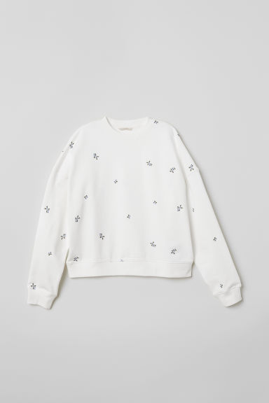 Sweater met borduursel - Wit -  | H&M BE