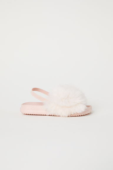 Faux fur slides - Powder pink -  | H&M