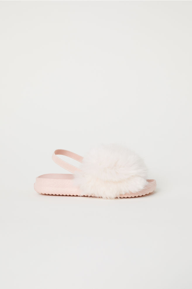fb1945cdca2 Faux fur slides - Powder pink - Kids