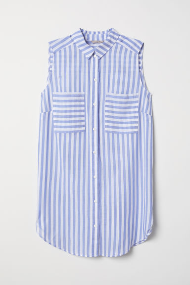 H&M+ Sleeveless cotton blouse - Blue/White striped - Ladies | H&M