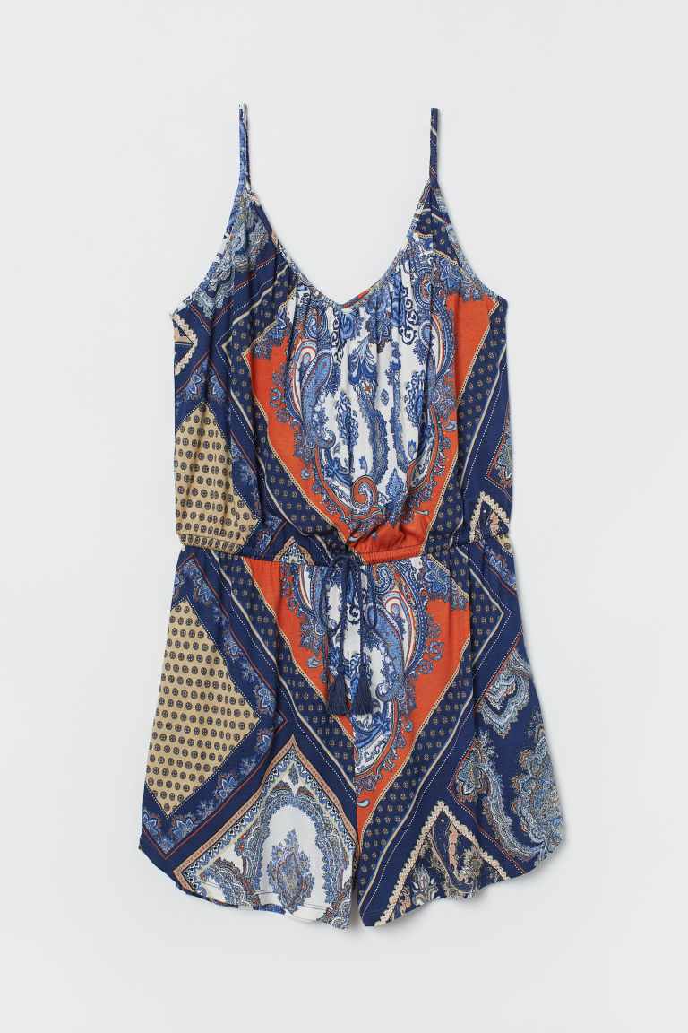 Sleeveless playsuit - Dark blue/Paisley-patterned - Ladies | H&M