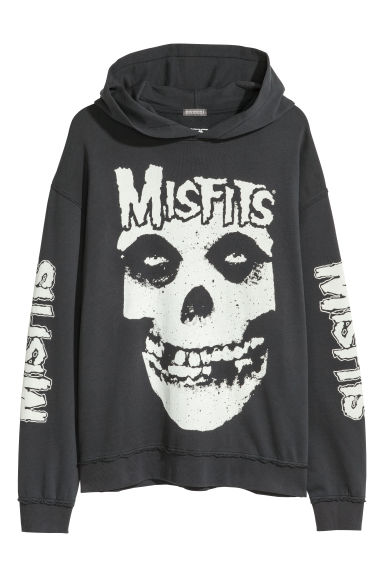 Printed hooded top - Black -  | H&M