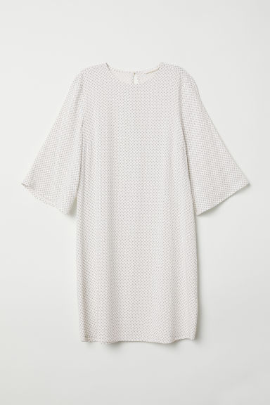Trumpet-sleeved dress - White/Patterned - Ladies | H&M