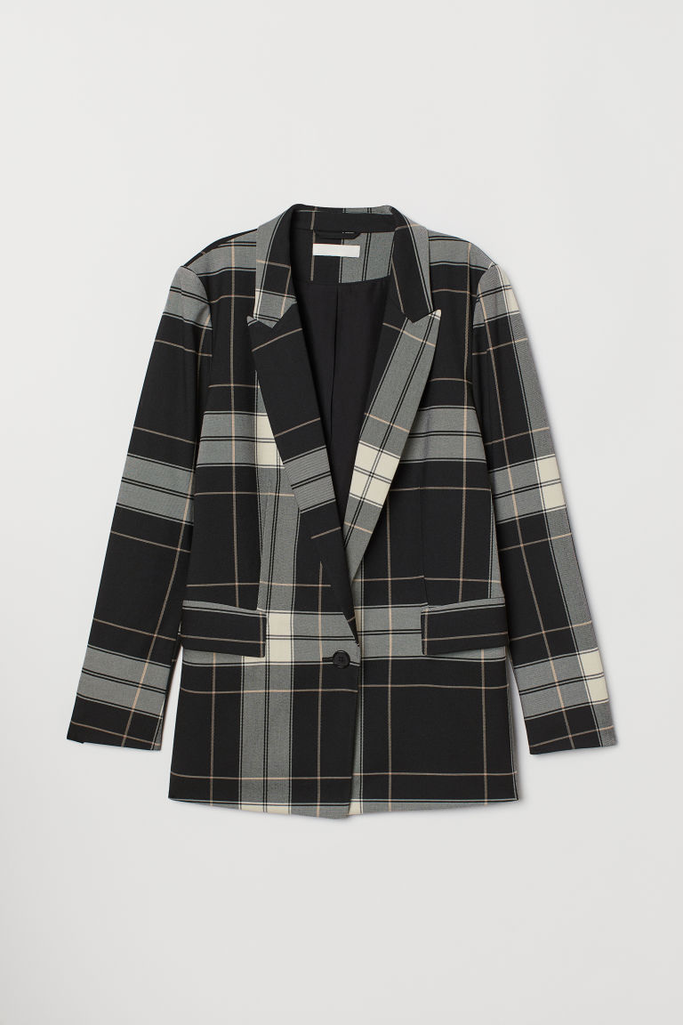 Cappotto a quadri - Nero/quadri - DONNA | H&M IT