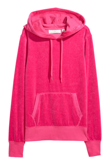 Sweat-shirt capuche en velours - Cerise - FEMME | H&M BE