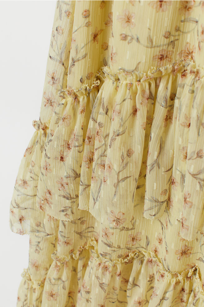 3bd1b43fa7a ... Patterned Tiered Skirt - Light yellow/floral - Ladies | H&M ...