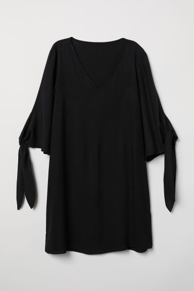 Tie-sleeved dress - Black - Ladies | H&M CN