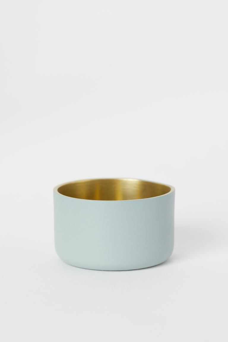 Small metal tealight holder - Dusky green - Home All | H&M CN