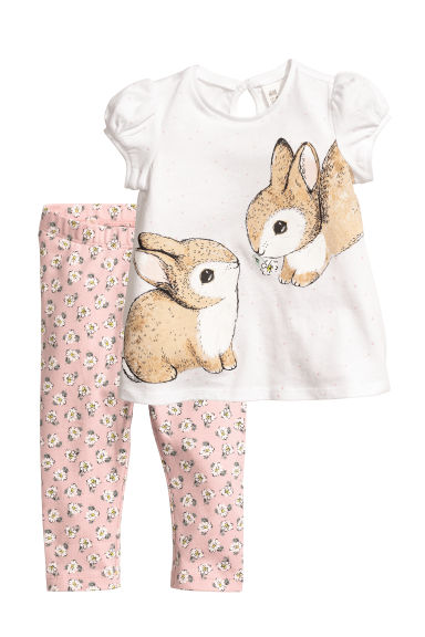 Top and leggings - White/Rabbits - Kids | H&M