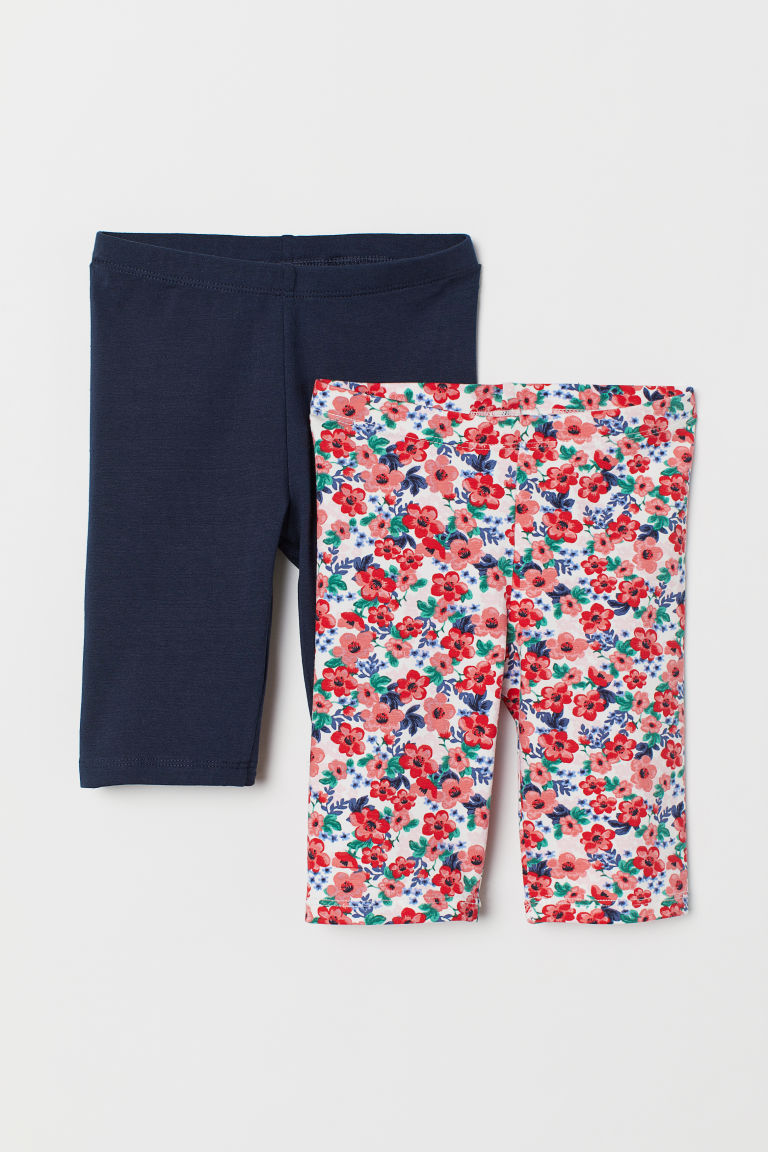 2-pack Cycling Shorts - Dark blue/floral - Kids | H&M US